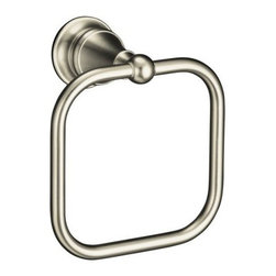 "Kohler - Kohler K-16140-BN Brushed Nickel Revival Traditional European and - Revival(R) towel ring Blending European style and early American influences, this Revival towel ring features solid brass construction for durability and reliability. Elegant accents bring continuity to your room design, and a full line of matching accessories complements your décor.  5-7/8""W x 3-3/4""D x 6-7/8""H Completes Revival design solution with KOHLER(R) faucets and fixtures"