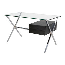 Nuevo Living - Xavier Desk, Ash Veneer - The desk — completely re-envisioned for your favorite modern setting. A thick glass top sits cleanly above an X-frame base of chromed stainless steel, while the drawer most definitely thinks outside the box.