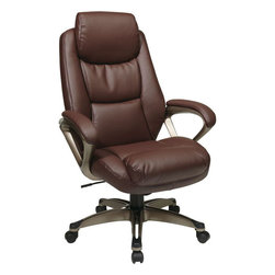 """Office Star Products - Executive Eco Leather Chair with Coil Spring Seat, Padded Arms and Coated Base - Executive Eco Leather Chair with Coil Spring Seat, Padded Arms and Coated Base. One Touch Pneumatic Seat Height Adjustment. Locking Tilt Control with Adjustable Tilt Tension.; Series: Executive Seating- Eco Leather; Color: Wine; Materials: Eco leather/metal; Thick Padded Eco Leather Seat and Back with Built in Lumber Support; Feature Coil Spring Seating Comfort; Headrest; One Touch Pneumatic Seat Height Adjustment; Locking Tilt Control with Adjustable Tilt Tension; Padded Loop Arms with Cocoa Coated Accents; Wine Eco Leather (-EC6); Heavy Duty Cocoa Coated Base with Black End Caps and Dual Wheel Carpet Casters; Dimensions: Assembled: 28.25""""W x 30""""D x 47.25""""H; Seat: 21""""W x 19.25""""D x 4.5""""Thickness; Back: 21.25""""W x 27""""H"""