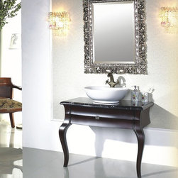 """Decima - Transitional Bathroom Vanity Set 36.7"""" - The Decima is an oak solid wood, hand carved, Transitional Bathroom Vanity set. Top quality luxurious transitional bathroom vanity set including beautiful thick marble top and elegant matching framed mirror. This beautiful Transitional Bathroom Vanity is ideal for any size bathroom. Its unique style captivates its extraordinary elegant feel."""