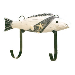 "Wooden Fish Hanger - The wooden fish hanger measures 7.5"" x 12.5"". There is decorative netting with sea shells wrapped around the hanger. It will add a definite nautical touch to whatever room it is placed in and is a must have for those who appreciate high quality nautical decor. It makes a great gift, impressive decoration  will be admired by all those who love the sea."