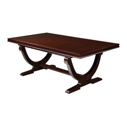 Baker Furniture - Rectangular Dining Table - The 1940s French Art Deco inspired table features a rectangular top supported by a curved double base and shaped stretcher. Two leaves add versatility, and the simplicity of the design allows it to work nicely with any chair.