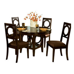 Standard Furniture - Standard Furniture Coterno 6-Piece Dining Room Set in Brown Cherry - The circle shape design on chair backs, table base, and door of server make a perfect focal point for entire suite. Quality veneers over wood products and select solids used throughout. Group may contain some plastic parts.
