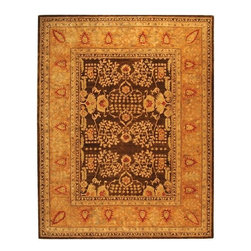 "Safavieh - Traditional Taj Mahal Hallway Runner 2'6""x12' Runner Brown - Gold Area Rug - The Taj Mahal area rug Collection offers an affordable assortment of Traditional stylings. Taj Mahal features a blend of natural Brown - Gold color. Hand Tufted of Wool the Taj Mahal Collection is an intriguing compliment to any decor."
