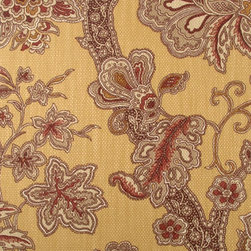 Floral - Large - Gold/Red Upholstery Fabric - Item #1012255-69.