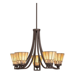 TIFFANY - TIFFANY Morton Tiffany 5-Light Chandelier X-45066 - From the Morton Collection, this Kichler Lighting Tiffany style Chandelier features modern lines and contemporary curves for an updated look. A warm Olde Bronze finish compliments the beautiful undulating colors of the art glass and cut stone shades.