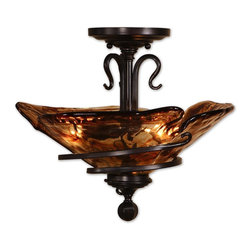 Uttermost - Uttermost Carolyn Kinder Semi-Flush Mount Ceiling Fixture in Oil Rubbed Bronze - Shown in picture: Oil Rubbed Bronze Metal With Hand Crafted Toffee Colored Art Glass. Hand wrought - oil rubbed bronze metal curls around heavy - hand made glass. Its amber tonalities are key in this exciting mix of materials.