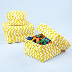 Kids' Yellow Chevron Baskets - These completely adorable storage baskets in a fun yellow chevron are perfect for storing toys, books or even changing supplies near a changing table.