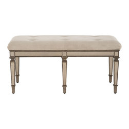 """Denison"" Mirrored Bench - Antique-finished mirrored apron and legs add vintage appeal to this tufted bench. Imported."