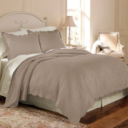 Sunham Home Fashions, Llc - Matelasse Coventry Coverlet Set in Taupe - Subtle and breezy, this charming coverlet set features scalloped edges and elegant details.