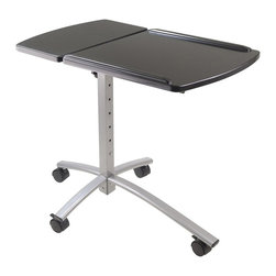 Winsome Trading, INC. - Winsome Wood 93427 Eric Adjustable Height Laptop Office Multimedia Cart, Black - Work in style with this eric laptop cart, it is portable and adjustable in height. Tilting top is great for left or right handed. Top adjustable height between 25.80-inch - 36.22-inch. Large surface area is 17.72-inch w by 15-3/4-inch d. Overall size 28.31-inch w by 19.27-inch d by 36.22-inch h. Construct with mdf top in black, enamel metal tube and plastic castors. Ready to assemble.