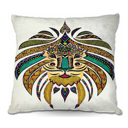DiaNoche Designs - Pillow Woven Poplin - Emporer Tribal Lion I - Toss this decorative pillow on any bed, sofa or chair, and add personality to your chic and stylish decor. Lay your head against your new art and relax! Made of woven Poly-Poplin.  Includes a cushy supportive pillow insert, zipped inside. Dye Sublimation printing adheres the ink to the material for long life and durability. Double Sided Print, Machine Washable, Product may vary slightly from image.