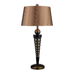 Dimond Lighting - Laurie 1-Light Table Lamp in Dunbrook and Dark Wood - Dimond Lighting D1738 Laurie 1-Light Table Lamp in Dunbrook and Dark Wood