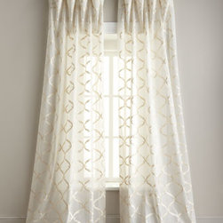 """Horchow - """"Graceful"""" Sheer Curtains - Graceful, indeed. Sheer curtains of ivory cotton organdy are embellished with exquisite two-tone embroidery in your choice of colors. Select embroidery color when ordering. Each sheer is approximately 54""""W and has a 4"""" rod pocket, 2"""" header, and back...."""