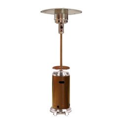 "AZ Patio Heaters - 87"" Tall Hammered Patio Heater - Gold Stainless Steel - 87in. tall terrace heater with hammered bronze plus stainless steel finish plus adjustable table. Access door shape. Variable temperature control, as much as 41,000 BTU's. Wheels for effortless movement, thermocouple plus anti-tilt protection equipment. Burner cover plus regulator included. CSA approved. Uses a 20lb propane tank (not included)Features:"