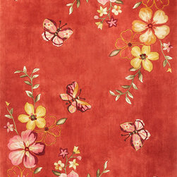 """Kas - Butterflies Coral Ruby Floral 8' x 10'6"""" Kas Rug  by RugLots - The Ruby Collection boasts a broad selection of designs, many of them using over twenty colors. Hand-tufted in China with super high-density weave and supported by a bonded back, these wool rugs capture the essence of Chinese artistry. The collection features a unique ensemble of florals, Savonneries, trellises and collages. Vibrant colors combined with sculpted details bring out the depth and beauty in each motif. A special luster wash and finishing of the thick wool pile presents a wondrous softness and shine."""