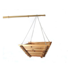 """Master Garden Products - Square Pyramid Shaped Hanging Basket, 20"""" - Simple, square boxes with a tapered base, our cedar wood hanging baskets are ideal for hanging on your front porch or anywhere in the yard. These delightfully crafted hanging planters are just as beautiful as they are affordable, adding that finishing touch to complete your home and garden."""