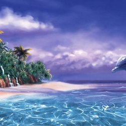 Murals Your Way - Tropical Dolphin Wall Art - A dolphin jumps high out of the ocean, in this wall mural, under a purple sky. Nearby, a tropical island's waterfalls spill onto a sandy beach.
