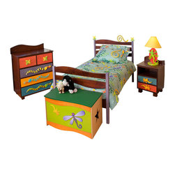 Little Lizard Twin Bed, Chocolate - Frogs and Snakes crawl around the headboard waves of this quality twin bed, made of solid hardwood finished with chocolate and brightly colored stains. Includes headboard, footboard, rails, mattress slats, 4 sturdy casters, and finials.