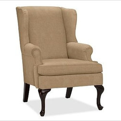 "Gramercy Upholstered Wingback Armchair, everydaysuede(TM) Light Wheat - A design standout, this armchair has sloping wings, double-scroll arms and cabriole legs that define it as a Queen Anne Wingback. 29.5"" wide x 34"" deep x 42"" high Corner blocked frame for structural integrity. Tight back is thickly padded for extraordinary comfort. Heavy gauge sinuous springs support a T-shaped seat cushion with a solid foam core that's wrapped in plush padding. Espresso-stained hardwood legs. This item can also be customized with your choice of over {{link path='pages/popups/fab_leather_popup.html' class='popup' width='720' height='800'}}80 custom fabrics and colors{{/link}}. For details and pricing on custom fabrics, please call us at 1.800.840.3658 or click Live Help. View and compare with other collections at {{link path='pages/popups/furniture_DOC.html' class='popup' width='720' height='800'}}Upholstery Furniture Facts{{/link}}. Watch a video about the high quality of our {{link path='/stylehouse/videos/videos/pbq_v22_rel.html?cm_sp=Video_PIP-_-PBQUALITY-_-OUR_UPHOLSTERY' class='popup' width='950' height='300'}}upholstered furniture{{/link}}. Made in USA."