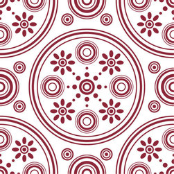 Odhams Press - Retro Daisies Red RETile Decal, White Background - RETile decals can be used to accent or transform your existing ceramic, stone or glass tiles. They are easy to apply and can be removed in the future without leaving a sticky residue.