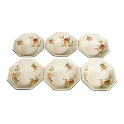 MBW Furniture - English New Set of 6 Johnson Brothers Soup Octagonal Bowls - This is a lovely English new set of 6 Johnson Brothers soup bowls. They have an attractive green color around their octagonal edge and they feature beautiful artworks of flowers, leaves and fruits. They are dishwasher, freezer and microwave safe and they're suitable with many decors.