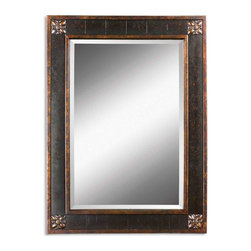 "Uttermost - Bergamo Distressed Chestnut Rectangular Mirror - Frame features a distressed chestnut brown finish with mottled black undertones, gold leaf details and a light tan glaze. Mirror has a generous 1 1/4 inch bevel. Frame Dimensions: 28.125""W X 38.125""H X 1.375""D; Mirror Dimensions: 20""W X 30""H; Finish: Distressed Chestnut Brown with Mottled Black Undertones, Gold Leaf Details and a Light Tan Glaze; Material: Wood, Gesso; Beveled: Yes; Shape: Rectangular; Weight: 41 lbs; Included: Brackets, Ready to Hang Vertically or Horizontally; Shipping: Free Shipping via UPS 7 - 10 Business Days"