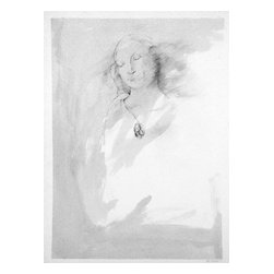 Untitled (Madonna), Original, Drawing - Another of artist Noe Badillo's subtle yet arresting pencil drawings, this one depicts a Madonna wearing an unusual amulet around her neck. Simple matting and a gold-leaf wooden frame make it just perfect to complement your style, whether it's contemporary or classic.