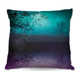 DiaNoche Designs - Pillow Woven Poplin - Monika Strigels Song of the Midnight Bird - Toss this decorative pillow on any bed, sofa or chair, and add personality to your chic and stylish decor. Lay your head against your new art and relax! Made of woven Poly-Poplin.  Includes a cushy supportive pillow insert, zipped inside. Dye Sublimation printing adheres the ink to the material for long life and durability. Double Sided Print, Machine Washable, Product may vary slightly from image.