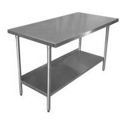18-Gauge Stainless Steel Commercial Work Table - A stainless steel counter-height table is a perfect space saver, and the bottom shelf is precious storage space.