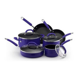 """Rachael Ray - Porcelain Enamel 10-Piece Cookware Set - This cookware set is an exceptional value, including all of the pans needed to equip your kitchen with the most used cooking pieces. It includes saucepans for whisking a homemade sauce or cooking your morning oatmeal, a big stockpot for soups, stews or boiling pasta, and skillets (probably the most used pan in any kitchen) that will help you turn out perfect crepes or grilled cheese """"sammys"""". The set also includes a saut pan, a wide, straight-sided pan that can perform many of the functions of a skillet but features deep sides for extra capacity, perfect for one dish meals. Start your dish in this pan by sauteing onions and browning meat, then add your liquid and other ingredients into the same pan to finish on the stovetop or in the oven. Includes: -1.5-Quart Covered Saucepan. -3-Quart Covered Saucepan. -6-Quart Covered Stockpot. -8"""" Open Skillet. -10"""" Open Skillet. -10"""" / 2.75-Quart Covered Saute. Features: -Porcelain enamel exterior is durable and provides even heating. -Comfortable contemporary silicone handles. -Durable nonstick interior releases food effortlessly. -Easy to clean. -Glass Lids allow you to monitor foods. Specifications: -Material: Porcelain enamel. -Color: Blue. -Cleaning and care: Recommend washing by hand. -Oven safe to 400F. -Lifetime limited warranty. Please Note: Not recommended for use with glass / ceramic cooking surfaces."""