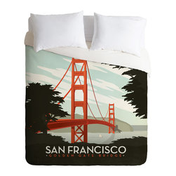 DENY Designs - Anderson Design Group San Francisco Duvet Cover - Turn your basic, boring down comforter into the super stylish focal point of your bedroom. Our Luxe Duvet is made from a heavy-weight luxurious woven polyester with a 50% cotton/50% polyester cream bottom. It also includes a hidden zipper with interior corner ties to secure your comforter. it's comfy, fade-resistant, and custom printed for each and every customer.