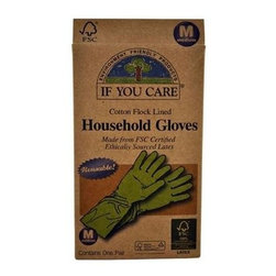 If You Care Household Gloves - Medium - 1 Pair - If You Care Household Gloves are made from Forest Stewardship Council (FSC) latex, meaning that the natural rubber is sourced from an environmentally responsible plantation. The gloves are naturally biodegradable and made from 100% renewable resources. They are perfect for dishwashing, oven cleaning, and bathroom or other house cleaning tasks. The product packaging is also made of 100% recycled materials. Size Medium.