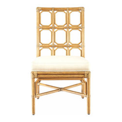 Selamat Designs - Selamat Designs Nutmeg Brighton Side Chair - Sun Kissed StyleWarm up your home with this Nutmeg Brighton Side Chair from Selamat Designs. The eye-catching high back of this chair features a trellis design with nine octagons within a rectangular grid. Eco-friendly as well as sophisticated, this chair is crafted from leather wrapped rattan and displays a golden nutmeg finish. A soft white cushion adds comfort to this stylish chair. Create a warm, welcoming atmosphere with this Nutmeg Brighton Side Chair.Made in IndonesiaCertified green by the Sustainable Furnishings Council