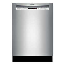 """Bosch 24"""" Recessed Handle 500 Series Dishwasher, Stainless Steel   SHE65T55UC - 44 dBA- Quietest Brand 3rd Rack for Additional Loading Capacity Detergent Tray Optimizes Detergent Dissolving RackMatic on Upper Rack - 3 Height Adjustments and Up to 9 Possible Rack Positions AquaStop Leak Protection Works 24/7"""