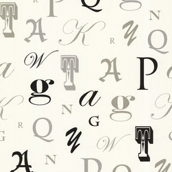 Manuscript Cream Letter Font Wallpaper. - Bring a poetic dimension to your walls with this playful boutique style wallpaper. A polished neutral looks sharp behind glossy black and glittery gold and silver letters.