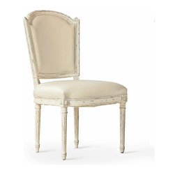 Eloquence - Flins French Country Ivory Leather Antique White Dining Side Chair - A clean, classic Scandinavian chair gets a French makeover with a Gesso finish and Buttermilk leather upholstery. Delicately carved rosettes add distinctive detail to the distressed legs. The seat is beautifully versatile in the dining room, living room or bedroom.