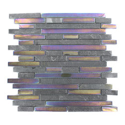 "Geological Tao Black Slate & Rainbow Black Glass Tiles - Geological Tao Black Slate + Rainbow Black Glass Tiles 1/2 x Random This striking brick pattern design has a combination of black slate and metallic iridescent rainbow black glass. These tiles are mesh mounted and will bring a sleek and contemporary clean design to any room. Chip Size: 1/2 x Random Color: Black and Metallic Iridescent Rainbow Black Material: Slate and Glass Finish: Frosted and Polished Sold by the Square Foot - each sheet measures 12""x11 3/4 Thickness: 8mm"