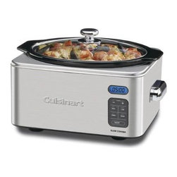 """Cuisinart - 6.5 Qt. Slow Cooker in Brushed Stainless - Programmable technology makes homemade meals easier than ever! This family-sized Cuisinart Slow Cooker features 24-hour programmable cook time; and a digital countdown timer, three cooking modes. It automatically shifts to Keep Warm when cooking is done to ensure that up to 6.5 quarts of your favorite family entrees, sides, or desserts are warm, ready and waiting to enjoy. Features: -Automatically shifts to Warm when cook time ends. -Touchpad control panel with LCD timer display. -24-Hour cooking timer. -Off/On, Warm, Simmer, Low, and High settings. -Removable dishwasher-safe 6.5-quart oval ceramic cooking pot. -Brushed stainless steel housing, with chrome-plated handles. -Tempered glass cover with stainless rim and chrome-plated knob. -Retractable cord storage. -Nonslip rubber feet. -Includes cooking rack for use with ramekins or other bakeware. Specifications: -Spiral-bound recipe book with 70 dishes. -Instruction book. -Limited 3-Year Warranty. -Overall Dimensions: 18"""" H x 15.7"""" W x 11.3"""" D"""