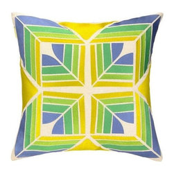 Trina Turk - Trina Turk Gridley Pillow-Lime - The Lime Gridley Pillow by Trina Turk is part of a line infused with bold signature prints and unique dynamic hues, Trina's modern and optimistic outlook meld the best of classic American design with a California confidence, incorporating beautiful fabrications and impeccable quality for the effortless elan and carefree glamour.