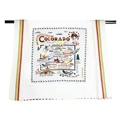 CATSTUDIO - Colorado State Dish Towel by Catstudio - This original design celebrates the beautiful state of Colorado- a national treasure.  This design is silk screened, then framed with a hand embroidered border on a 100% cotton dish towel/ hand towel/ guest towel/ bar towel/ Three stripes down both sides and hand dyed rick-rack at the top and bottom add a charming vintage touch. Delightfully presented in a reusable organdy pouch. Machine wash and dry.
