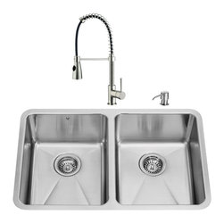 "VIGO Industries - VIGO All in One 29-inch Undermount Stainless Steel Double Bowl Kitchen Sink and - Modernize the look of your entire kitchen with aVIGO All in One Kitchen Set featuring a 29"" Undermount kitchen sink, faucet, soap dispenser, and two sink strainers."