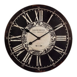 """IMAX - Hotel Wall Clock - Black and White, Grand Hotel wall clock Item Dimensions: (23.25""""d)"""