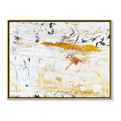 """CHC Art, Inc - The Day Before Next Year, 36""""x48"""", Hand Embellished Giclee - As a very minimal piece, the planes of whites and other neutrals are the prominent features on this canvas. Vertical streaks and smearing create visually interesting textures.- Hand Embellished Giclee.- Gold floater frame with dark espresso edges.- Ready to hang.- Frame adds 1.75"""" to each dimension.- Made in the USA."""
