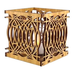 """Lightwave Laser - Frank Lloyd Wright Blossom Design Hardwood Votive - This beautiful new Frank Lloyd Wright Blossom design hardwood votive is precision laser cut for quality of finish and design accuracy. The design is adapted from the glass design used for the entry sidelight in the George Blossom House in Chicago, Illinois, (1892). It includes a glass votive holder and flameless tea light. Enjoy the understated mood lighting of a tea light without the risk of fire. Also works well as a bedside table night light. The tea light candle has an LED light source to replicate the effect of a yellow flicker flame. Battery included. Dimensions: 3.75"""" square."""