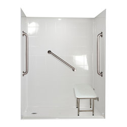 """Ella's Bubbles - Ella Standard Plus 24 Barrier Free, 60""""W x 37""""D x 78""""H, Left Drain - The Ella Standard Plus 24, (5-Piece) 60 in. x 36 in. Roll in Shower is manufactured using premium marine grade gel coat fiberglass which creates a smooth, beautiful, long lasting surface with anti-slip textured shower base floor. Ella Standard Plud 24 Barrier Free Shower walls are reinforced with wood and steel providing flexibility for seat and grab bar installation at needed height for any size bather. The integral self-locking aluminum Pin and Slot System allows the shower walls and the pre-leveled shower base to be conveniently installed from the front. Premium quality material, no need for drywall or extra studs for fixture support, 30 Year Limited Lifetime Warranty (on shower panels) and ease of installation make Ella Barrier Free Showers the best option in the industry for your bathtub replacement or modification needs. The Ella Standard Plus 24 Barrier Free, Roll In Shower comes with three (3) 24 inch satin finish straight stainless steel grab bars (not installed to allow for custom positioning), a four legged fold-up seat, a textured slip resistant Grip Sure™ floor, a collapsible white rubber dam which allows for easy wheelchair roll over into the shower stall and keeps water inside the shower."""
