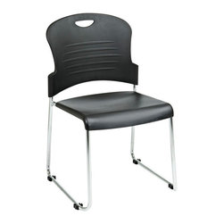 Office Star - Work Smart STC Series STC866C4-3 Stack Chair w/ Sled Base - Plastic Seat & Back - STC866C4-3 Stack Chair w/ Sled Base - Plastic Seat & Back - Black belongs to STC Series Collection by Work Smart Stack Chair with Sled Base with Plastic Seat and Back. Black. 4 Pack. Plastic Seat and Back. Available in 2 (STC866C2, 4 (STC866C4) or 30 (STC866C30) Pack. Stacking Dolly Available (DOL8300). 30 Pack ships with Dolly. Chrome Finished Steel Frame. Office Chair (4)