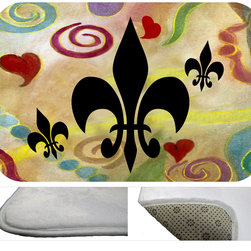"""usa - Fluer De Lis And Hearts,  20"""" X 15"""" - Bath mats from my original art and designs. Super soft plush fabric with a non skid backing. Eco friendly water base dyes that will not fade or alter the texture of the fabric. Washable 100 % polyester and mold resistant. Great for the bath room or anywhere in the home. At 1/2 inch thick our mats are softer and more plush than the typical comfort mats. Your toes will love you."""