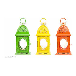 Fiesta Party Candle Lantern Centerpiece by Open Vintage Shutters - Light up the night with these festive little lanterns.