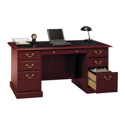 "Bush - Bush Saratoga 60"" Manager's Desk and Lateral File Set - Bush - Office Sets - SaratogaPKG1 -  Bush Saratoga Executive Home Office Wood Managers Desk in Cherry (included quantity: 1) If you want to make a sweeping statement without saying a word, the Bush Saratoga Executive Pedestal Desk is the solution of choice. This luxury desk features lockable filing drawers that accept letter, legal or A4-size files.  Features:"